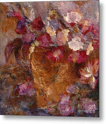 Floral Still Life Pinks Metal Print by Claire Bull