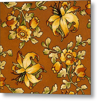Floral Textile Design Metal Print by English School
