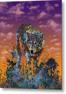 Floral Wolf T Metal Print