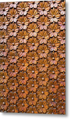 Floral Woodcarving On Door Panel Closeup Metal Print
