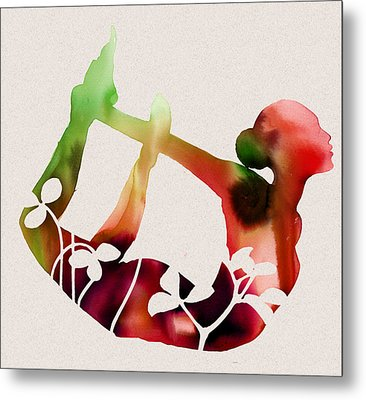 Floral Yoga Metal Print by Dana Vogel