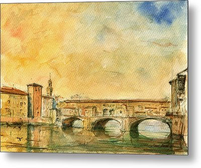 Florence Bridge Ponte Vecchio Metal Print by Juan  Bosco