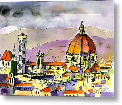 Florence Cathedral Italy Metal Print by Ginette Callaway