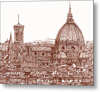 Florence Duomo In Red Metal Print by Adendorff Design
