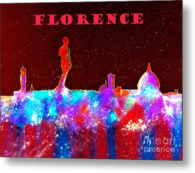 Florence Italy Skyline - Red Banner Metal Print by Bill Holkham