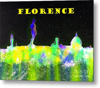 Florence Italy Skyline - Yellow Banner Metal Print by Bill Holkham