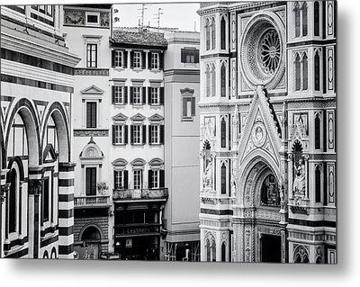 Metal Print featuring the photograph Florence Italy View Bw by Joan Carroll