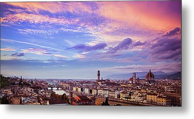 Florence Skyline At Sunset Metal Print by Andrew Soundarajan
