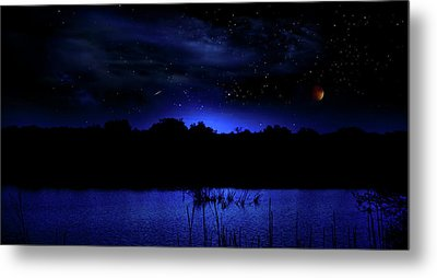 Florida Everglades Lunar Eclipse Metal Print by Mark Andrew Thomas