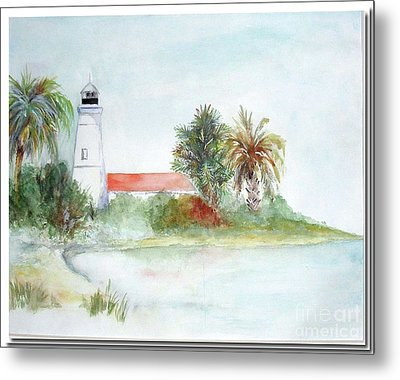 Metal Print featuring the painting Florida Lighthouse by Sibby S