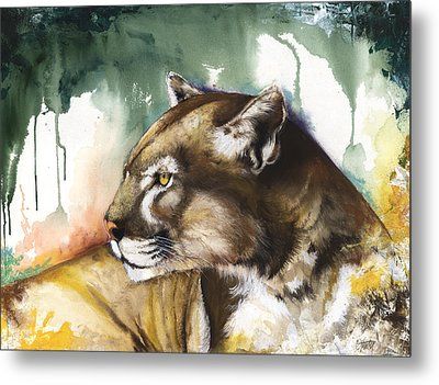 Metal Print featuring the mixed media Florida Panther 2 by Anthony Burks Sr