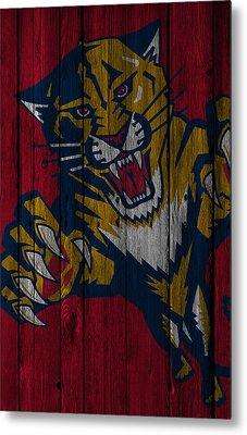 Florida Panthers Wood Fence Metal Print