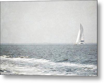 Florida Rustic Sailboat Ocean Landscape Metal Print by Andrea Hazel Ihlefeld