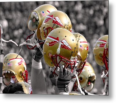 Florida State Football Helmets Metal Print by Mike Olivella