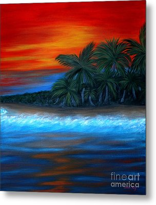 Metal Print featuring the painting Florida Sunset by Oksana Semenchenko