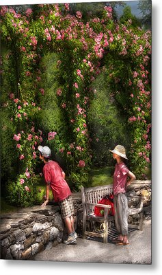 Flower - Rose - Smelling The Roses Metal Print by Mike Savad