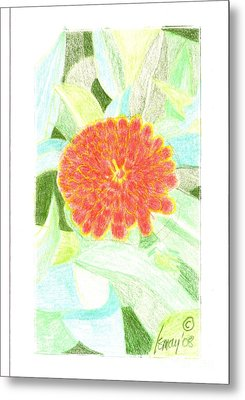 Metal Print featuring the drawing Flower 1 - Orange Red Zinnia by Rod Ismay