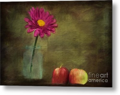 Flower And Apples Still Life Metal Print by Kathleen Rinker