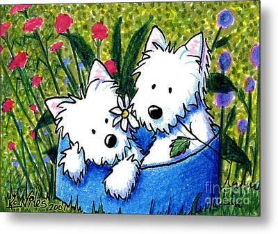 Flower Bed Westies Metal Print