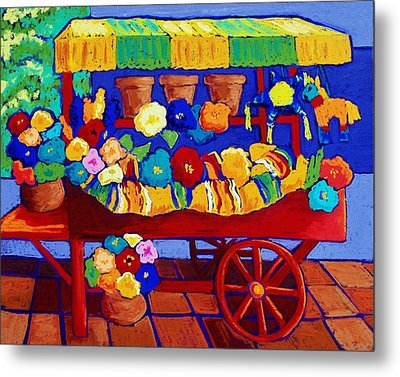 Flower Cart Metal Print by Candy Mayer