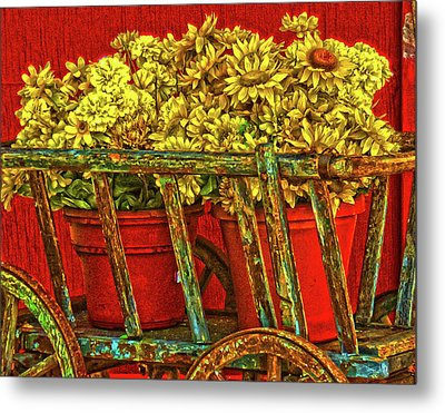 Flower Cart Metal Print
