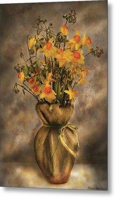 Flower - Daffodils In A Burlap Vase Metal Print by Mike Savad