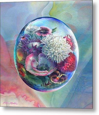 Flower Drop Blues Metal Print by Robin Moline