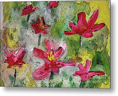 Metal Print featuring the painting Flower Play by Terri Thompson