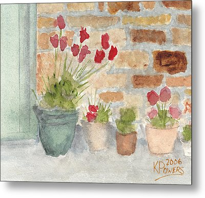 Flower Pots Metal Print