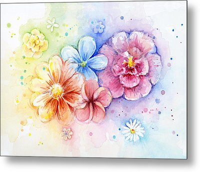 Flower Power Watercolor Metal Print by Olga Shvartsur