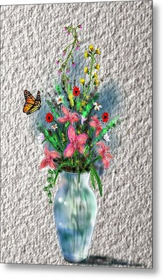 Metal Print featuring the digital art Flower Study Three by Darren Cannell