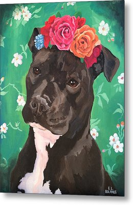 Flower The Pitbull Metal Print by Elisa Bolanos