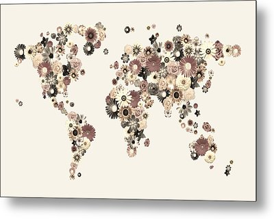 Flower World Map Sepia Metal Print by Michael Tompsett