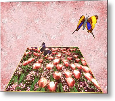 Flowerbed Of Tulips Metal Print by Belinda Threeths