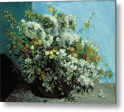 Flowering Branches And Flowers Metal Print by Gustave Courbet