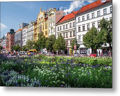Metal Print featuring the photograph Flowering Wenceslas Square In Prague by Jenny Rainbow