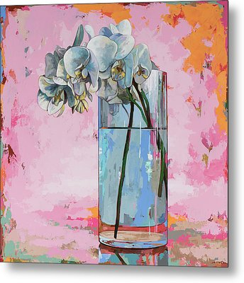 Metal Print featuring the painting Flowers #17 by David Palmer