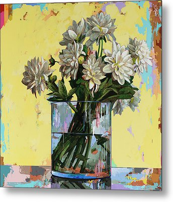 Metal Print featuring the painting Flowers #19 by David Palmer
