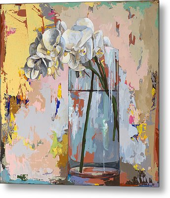 Metal Print featuring the painting Flowers #3 by David Palmer