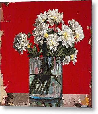 Metal Print featuring the painting Flowers #4 by David Palmer