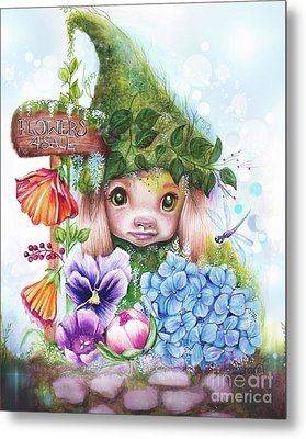 Metal Print featuring the mixed media Flowers 4 Sale - Garden Whimzies Collection by Sheena Pike