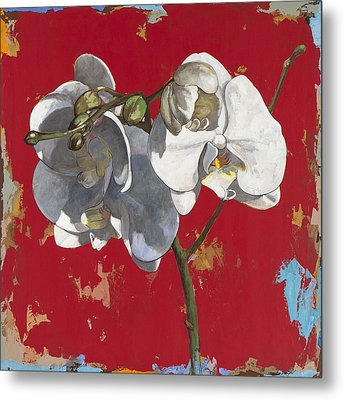 Metal Print featuring the painting Flowers #6 by David Palmer