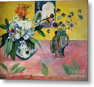 Flowers And A Japanese Print Metal Print by Paul Gauguin