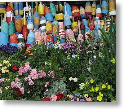 Metal Print featuring the photograph Flowers And Bouys by Mike Martin