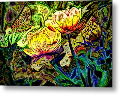 Flowers And Butterfly Metal Print