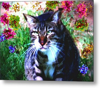 Flowers And Cat Metal Print
