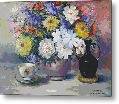Flowers And Coffee Pot Metal Print