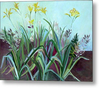 Flowers And Leaves Metal Print by Betty Pieper