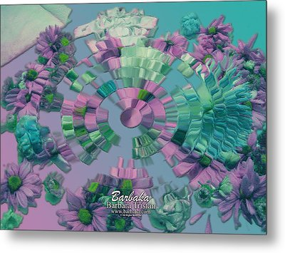 Metal Print featuring the photograph Flowers And Paper by Barbara Tristan