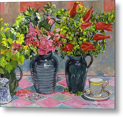 Flowers And Pitchers Metal Print by David Lloyd Glover